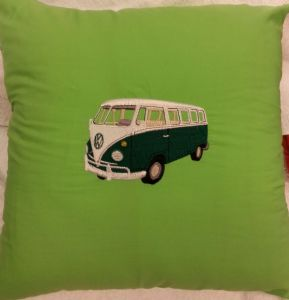 LARGE PERSONALISED EMBROIDERED VW CAMPER VAN THEME CUSHION - Green